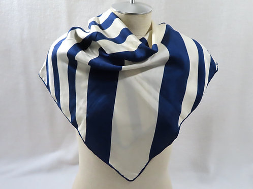 Vintage Echo scarf with navy blue and white diagonal stripes