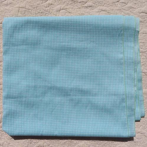 Aqua and white micro-check gingham fabric