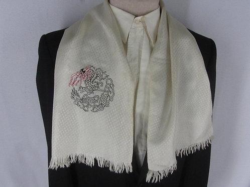 Vintage Silk Scarf White Shanghai China Souvenir Embroidered Dragon