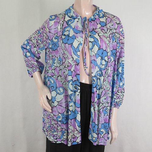 Vintage purple and blue abstract floral short open robe