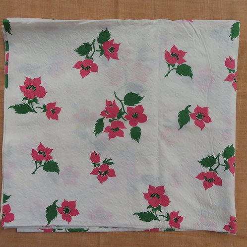 Vintage white plisse fabric with pink floral print