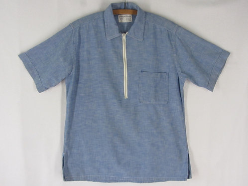 60s pullover mens shirt with short white front zipper