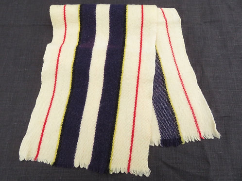 Vintage Cream Navy Red Striped Wool Muffler Scarf