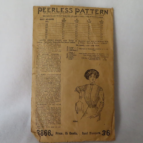 Antique blouse pattern by Peerless pattern company in the early 1900s