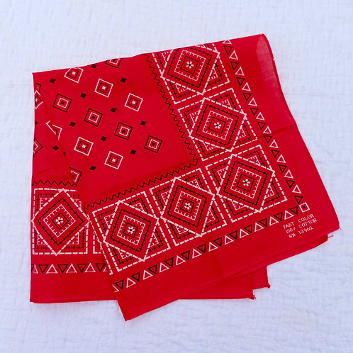 Vintage Red Bandana Geometric Print #136