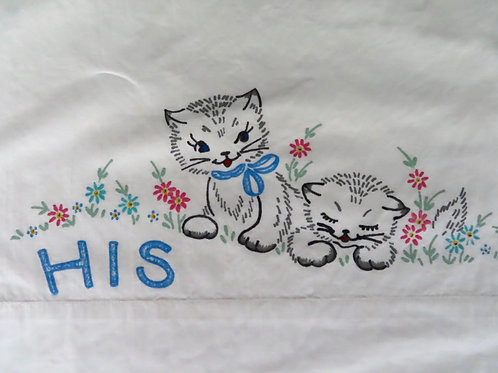 Kitten image on white pillowcase with the word HIS