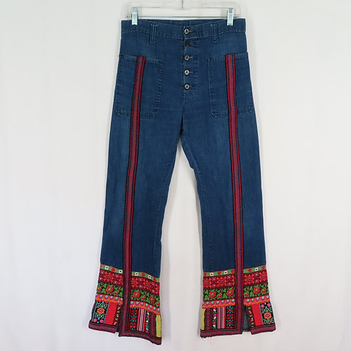 Vintage 70s blue jeans with tapestry trim hems