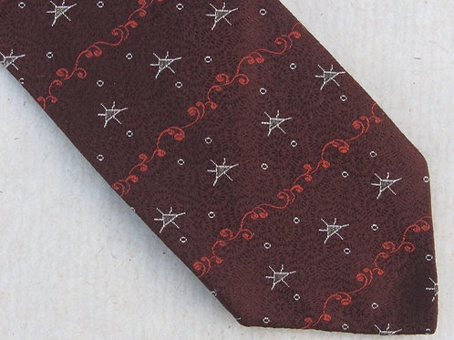 Vintage 50s Brown Silk Sulka Necktie Metallic Silver Star Skinny Vintage Tie