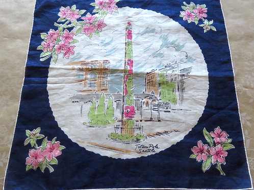 Vintage 50s Seattle Handkerchief Souvenir Totem Pole City Scenes