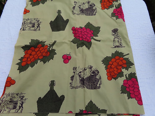 Vintage 60s green curtain fabric with wine and grapes print