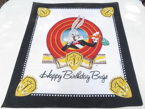 Vintage 90s bandana celebrating Bugs Bunny 50th birthday