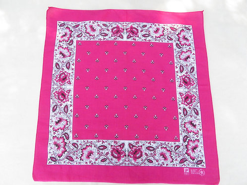 Bright pink square bandana with white and pink floral border