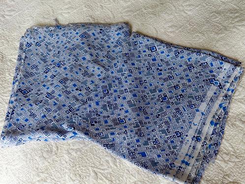 Vintage rayon fabric with atomic geometric print