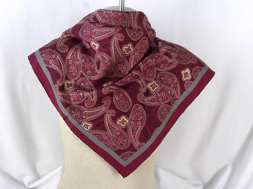 Vintage Red Gray Paisley Silk Twill Scarf AS IS