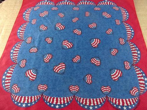 Vintage bandana with Americana heart shaped flags