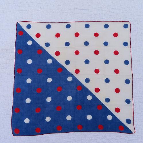 Square red white and blue polka dot bandana scarf