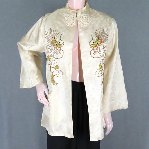 Vintage satin robe jacket with dragon embroidery
