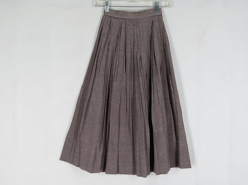 Vintage solid color taupe skirt with micro-pleats