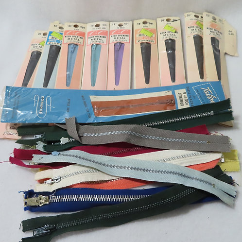 Large lot vintage metal zippers, new and used