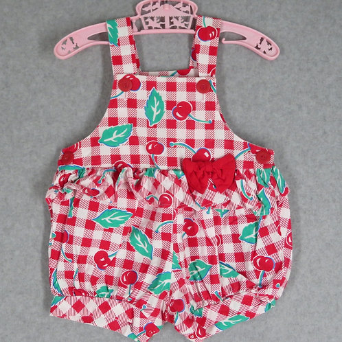 Vintage red and white cherry and gingham print baby romper