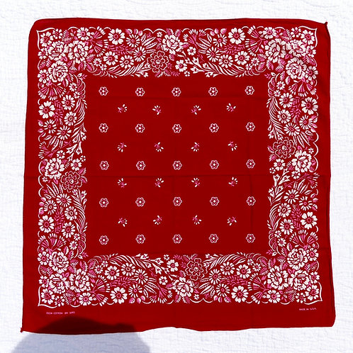 Vintage dark red bandana with pink and white floral border print