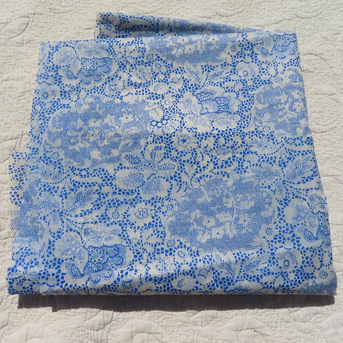 Blue white lace print woven nylon fabric