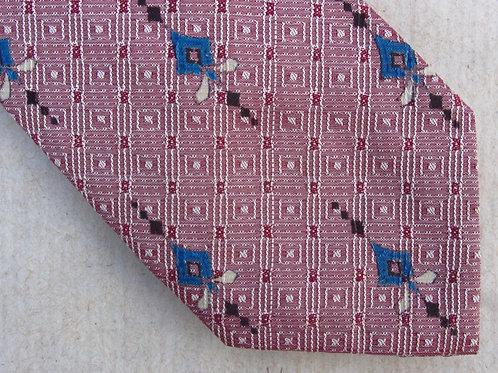 Vintage 50s Red Blue Silk Skinny Tie A. Sulka Necktie Diamonds