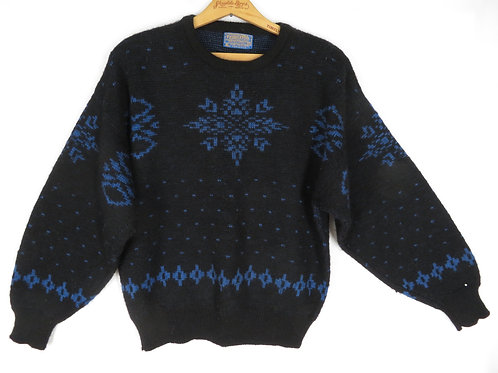 Vintage black wool blue snowflake sweater by Pendleton