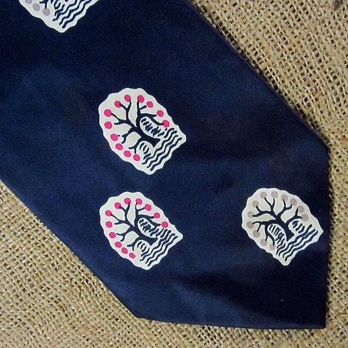 Vintage Tie 50s Fashion Craft Cravat Navy Satin Tree Motifs AS IS Spot