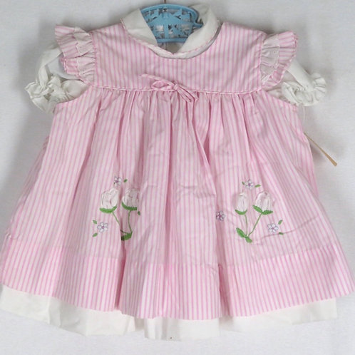 New Retro Pink White Stripe Baby Dress 18 mo