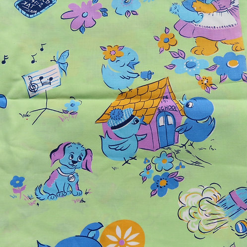Closeup cute animals on green background fabric for kids