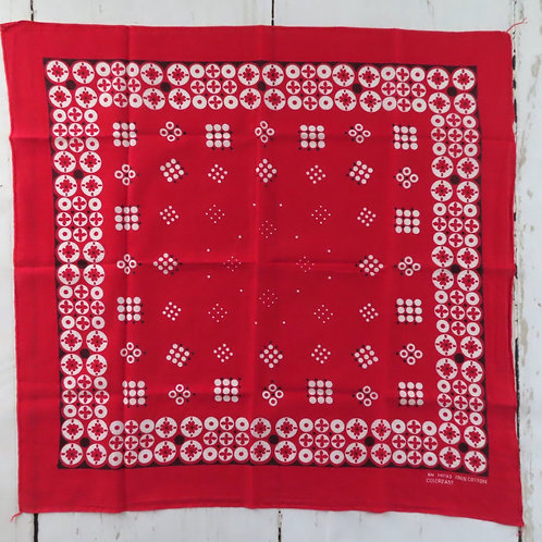 Vintage red bandana with black and white circles around the border