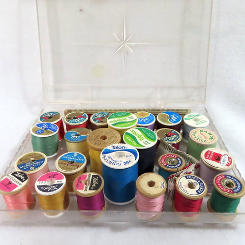 Lot of sewing thread in vintage clear plastic thread caddy