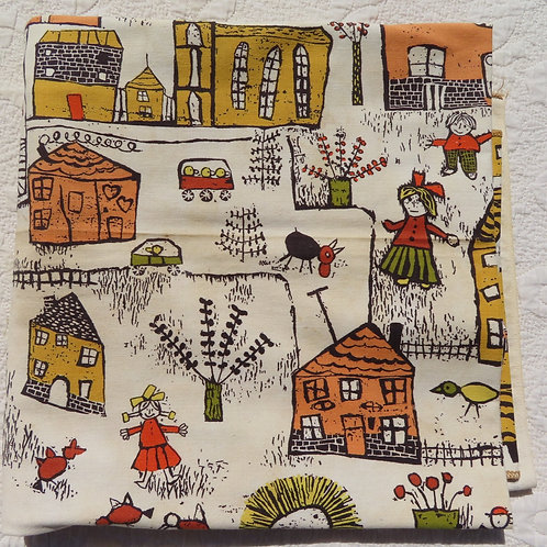 Cityscape fabric from 1961 showing children buildings and animals