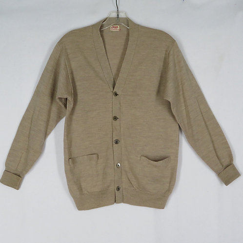 Classic beige unisex cardigan sweater by Jaeger