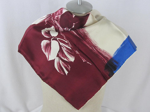 Vintage Red Rose Print Scarf Silk Satin White Dark Blue Border