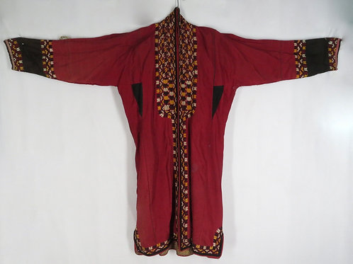 Antique wool embroidered Uzbek Chapan coat robe