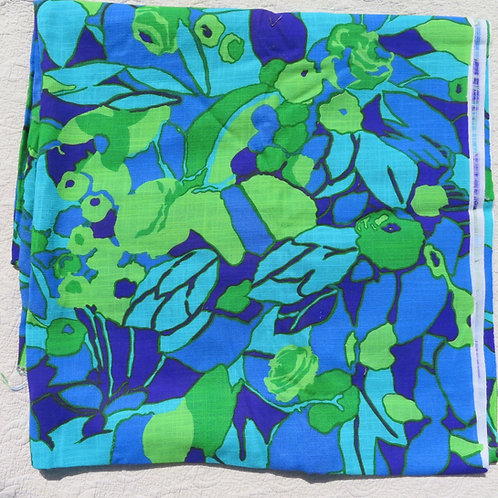 Vintage 60s 70s Mod Groovy Fabric Abstract Fruit Print
