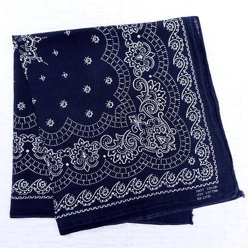 Dark blue bandana lacy white wave and scallop print