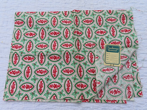 Vintage white cotton print fabric with Newberrys remnant tag