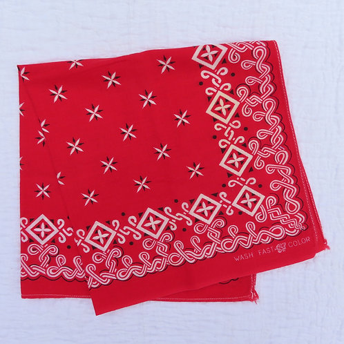 Vintage red bandana with white and black border