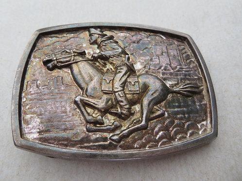 vintage pony express pewter belt buckle
