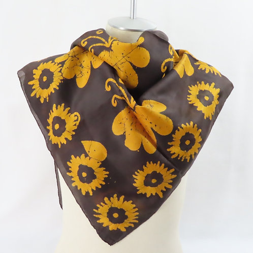 Vintage Brown Silk Scarf India Batik Sunflowers