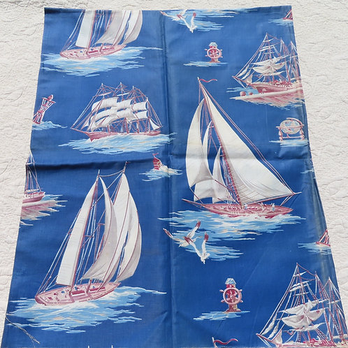 Vintage blue fabric with sailboats and masted ships