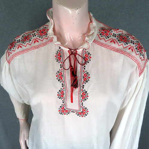 Vintage white peasant style blouse with red embroidery