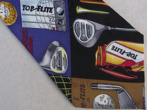 Vintage 90s Nicole Miller Golf Necktie Top-Flite Labels Black Silk