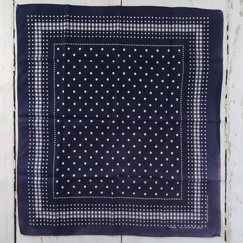 Square vintage dark blue and white polka dot bandana by Tower