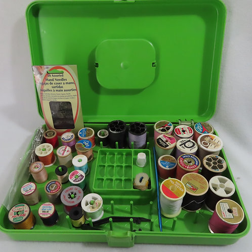 Vintage green sewing box or thread caddy with notions