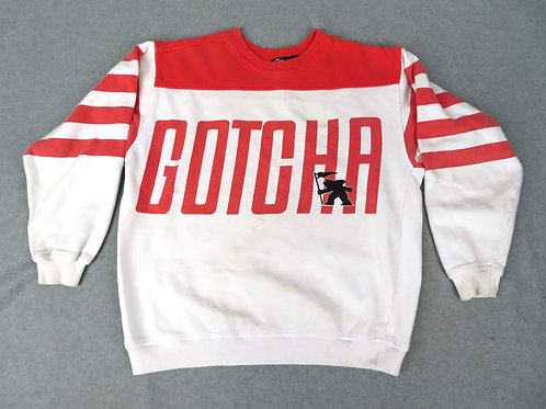 vintage Gotcha sweatshirt- crew neck long sleeve in white with orange