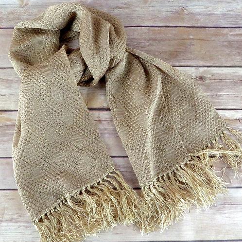 light brown diamond pattern knit scarf